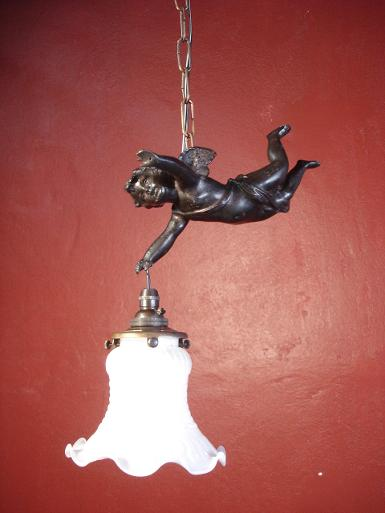 Angel  lamp brass with glass shade Item Code AT.21