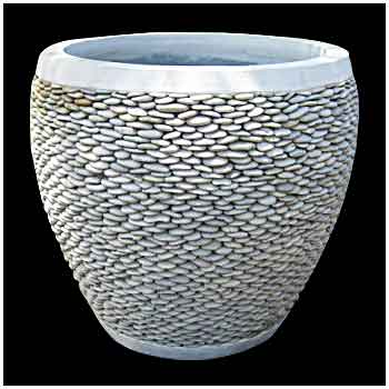Stone pot PBP03 white pebble 60x60cm