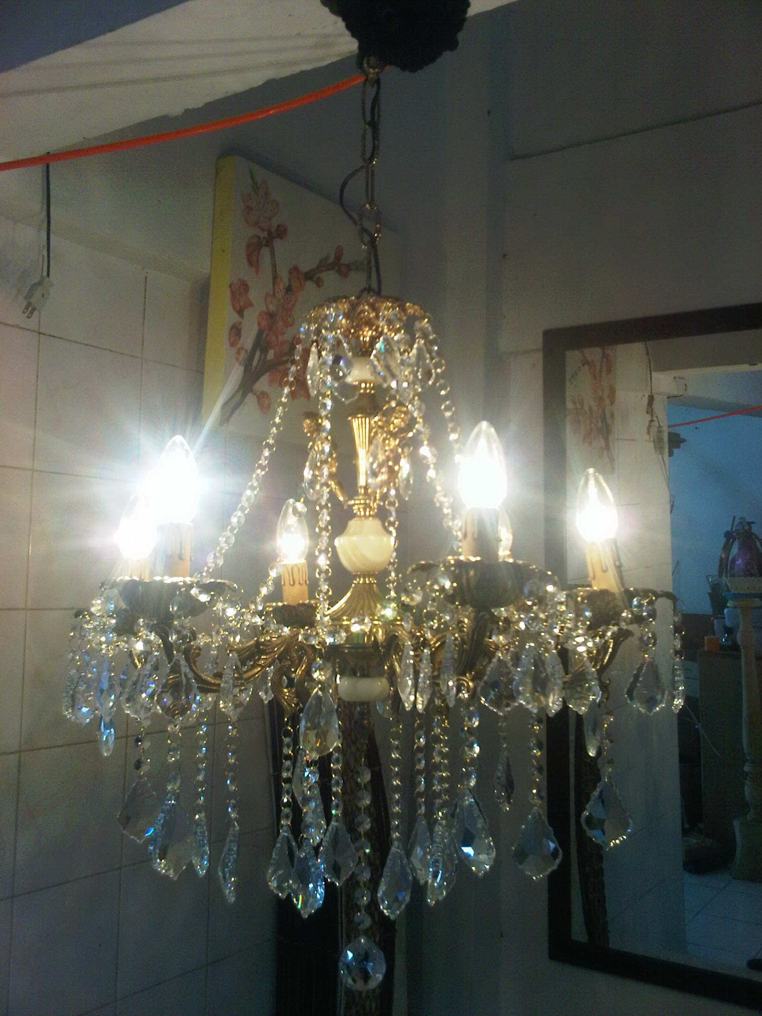 Chandelier Crystal Lamp (Antique Lamp from italy