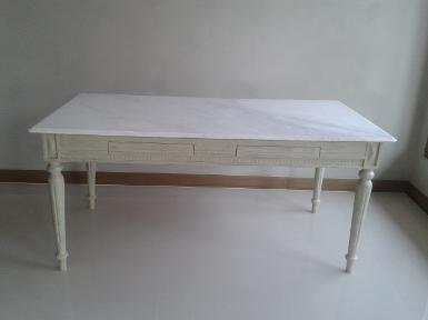 Marble table with teak wood code MTELS001 size 170 x 90 x h 75 cm.
