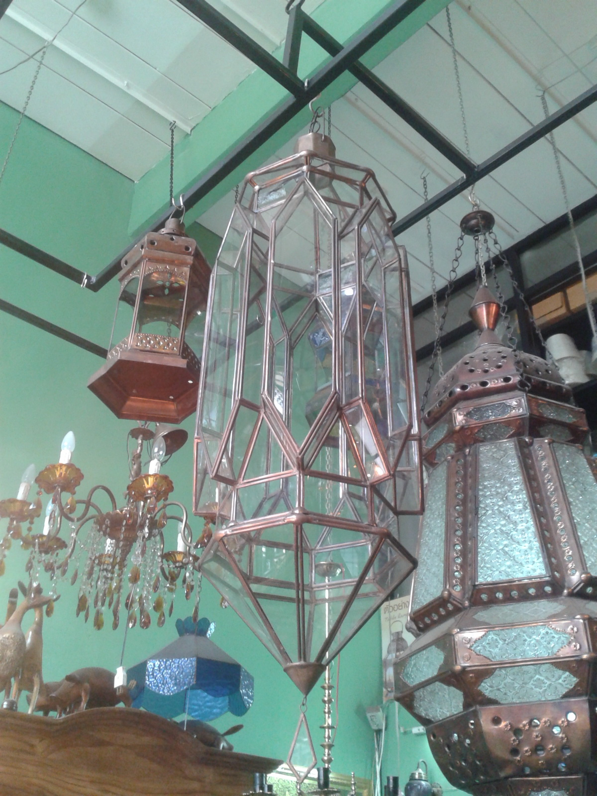 Moroccan lamp style : material is brass with glass size 80 x 28 cm.