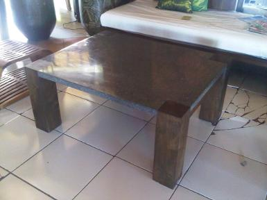 Table teak wood on top terrazzo stone