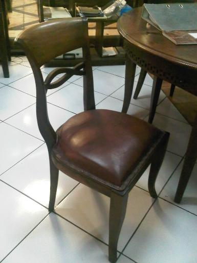 BL002C teak wood chair with leather