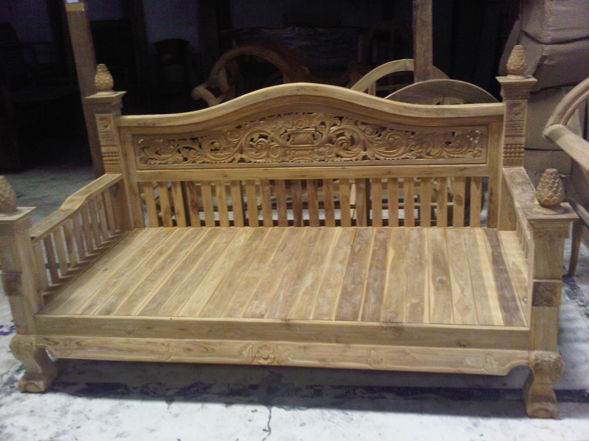 ฺำฺBench 100A teak wood with carving size 200x80cm