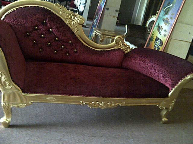 Sofa Day bed12A  teak wood with velvet cloth size 180x72cm.