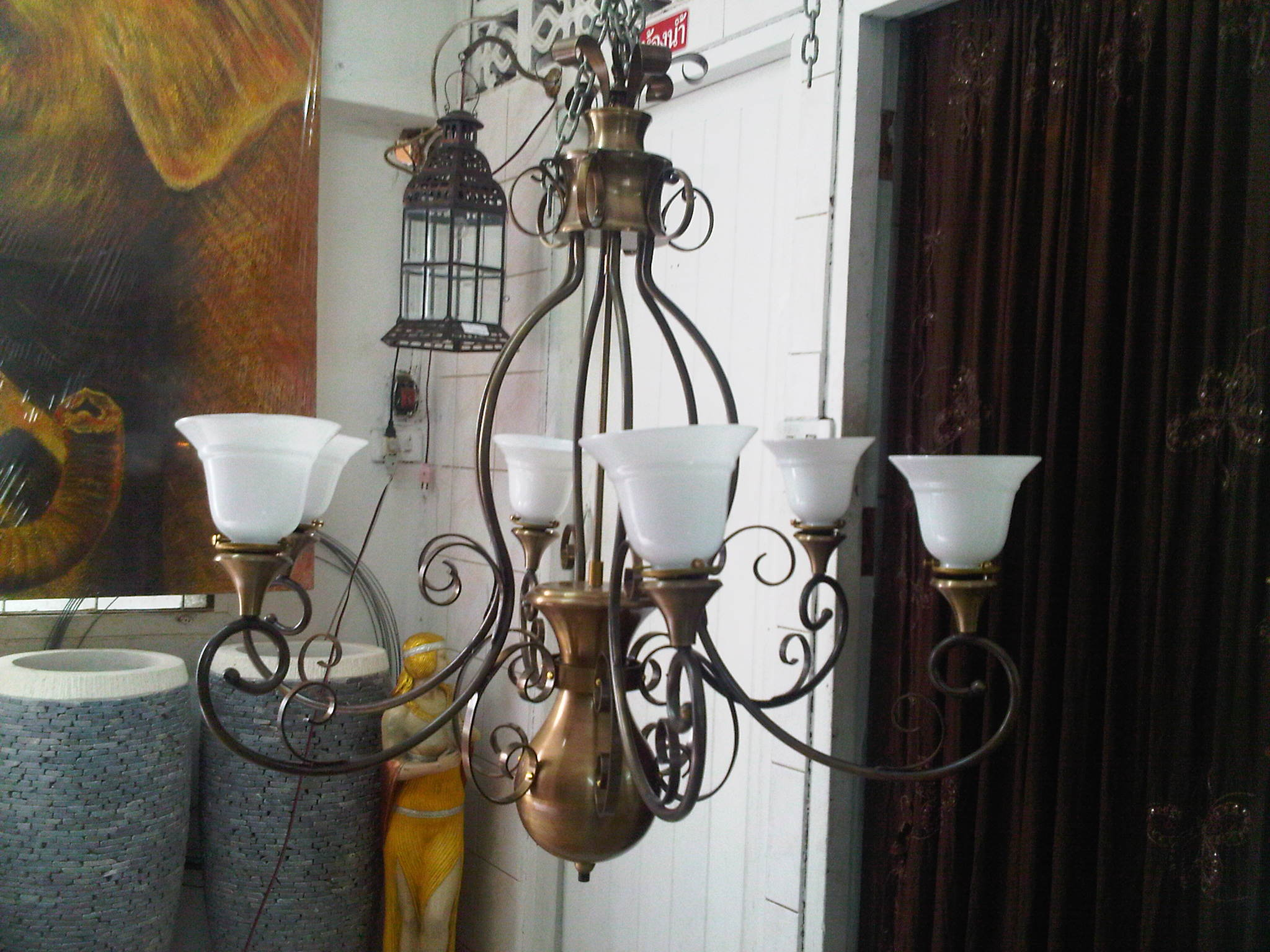 Chandelier material brass with glass Item Code CHL.001D size wide 800 mm. high 1000 mm.