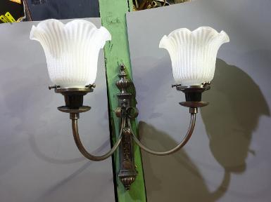 Wall Lamp 2 arm brass with glass lamp shade Item Code WLK10 size wide 350 mm. base L 323 mm W 53 mm