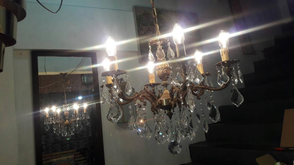 Chandelier Lamp crystal with brass antique lamp Item Code CDL18A  6 arm size wide 62 cm.