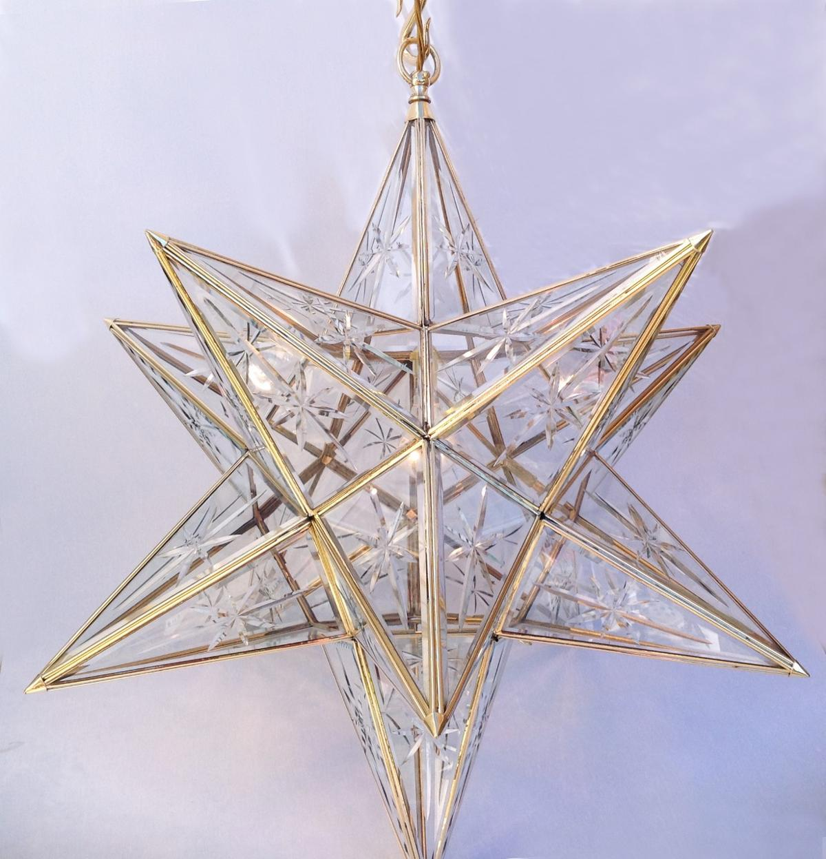 Star lantern beveled glass starburst Item Code ELS028SS size 28''