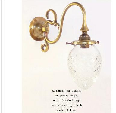 Wall Lamp brass with cut glass Item Code ELS.032