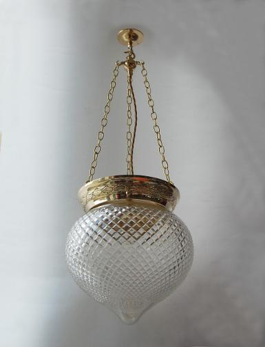 Pendant Lamp brass with cut glass Item ELS016A size glass D: 315 mm.long 600 mm.available long