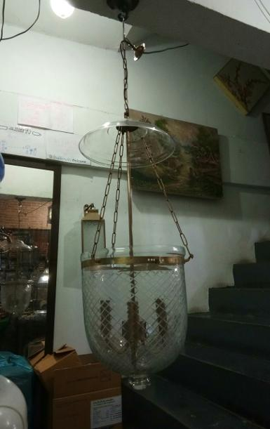 Hanging Lamp glass with brass Item code HGL.113 size long total 1000 mm glass 278 x 320 mm.(11'')