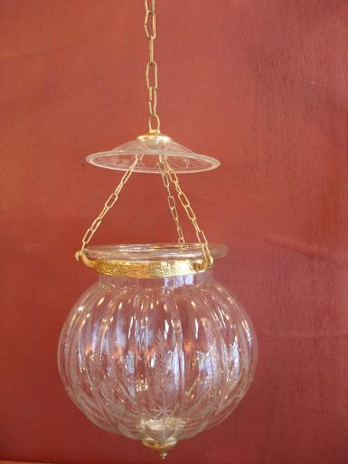 Pumpkin Lamp glass with brass Item Code HGPK19 size 9'' long 40 cm.