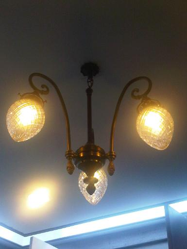 Hanging lamp 3 arm brass with cut glass Item Code AT60H
