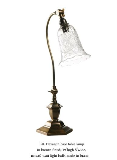 Table Lamp brass with cut glass shade Item Code ELS020T ITEM COMING SOON.