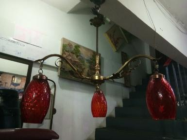 Hanging Lamp brass with glass Item code HGL20T size wide 600 mm. long include 1000 mm.