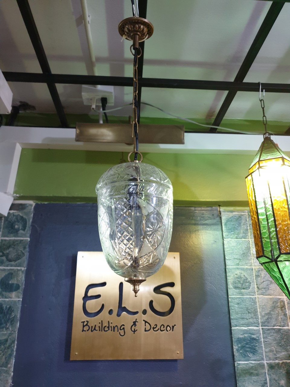 Hanging Lamp cut glass with brass accessories Item HGL100S  long total 600 mm. glass 5''