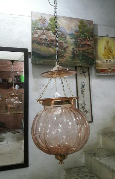 Pumpkin Lamp glass with brass Item Code HGPK18A size 9'' long 40 cm.