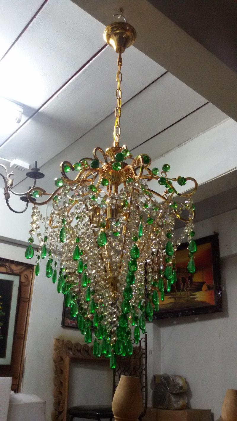 Crystal Chandelier Lamp Code CLH001  size  wide 40 cm. high include chain 90 cm.