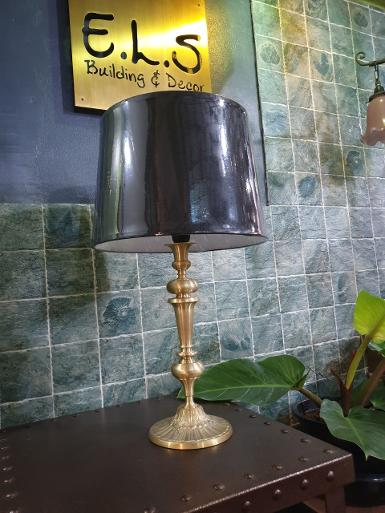 Table Lamp brass with fabric item code TBLL63 size base 180 mm high 590 mm.shade 280 mm x 330 mm H