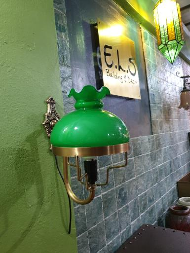 Brass Wall Lamp brass with green glass Item CodeWLD8G size base 77mm.L 180 mm.pipe 12 mm glass 8''