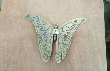 Butterfly brass use decorate wall Item Code BTF18 size wide 180 mm. wing left to right