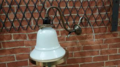 Brass wall lamp code BWL001P material brass with glass size base 56 mm.pipe 9 mm.deep 22 cm..