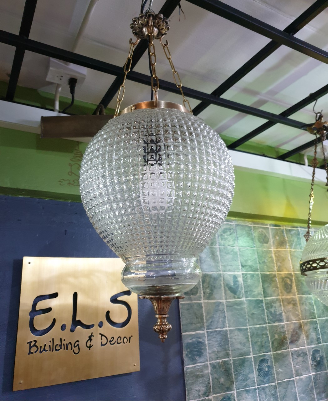 Pendent Lamp code HGLTT01 size Long total 500 mm glass D: 240 mm.