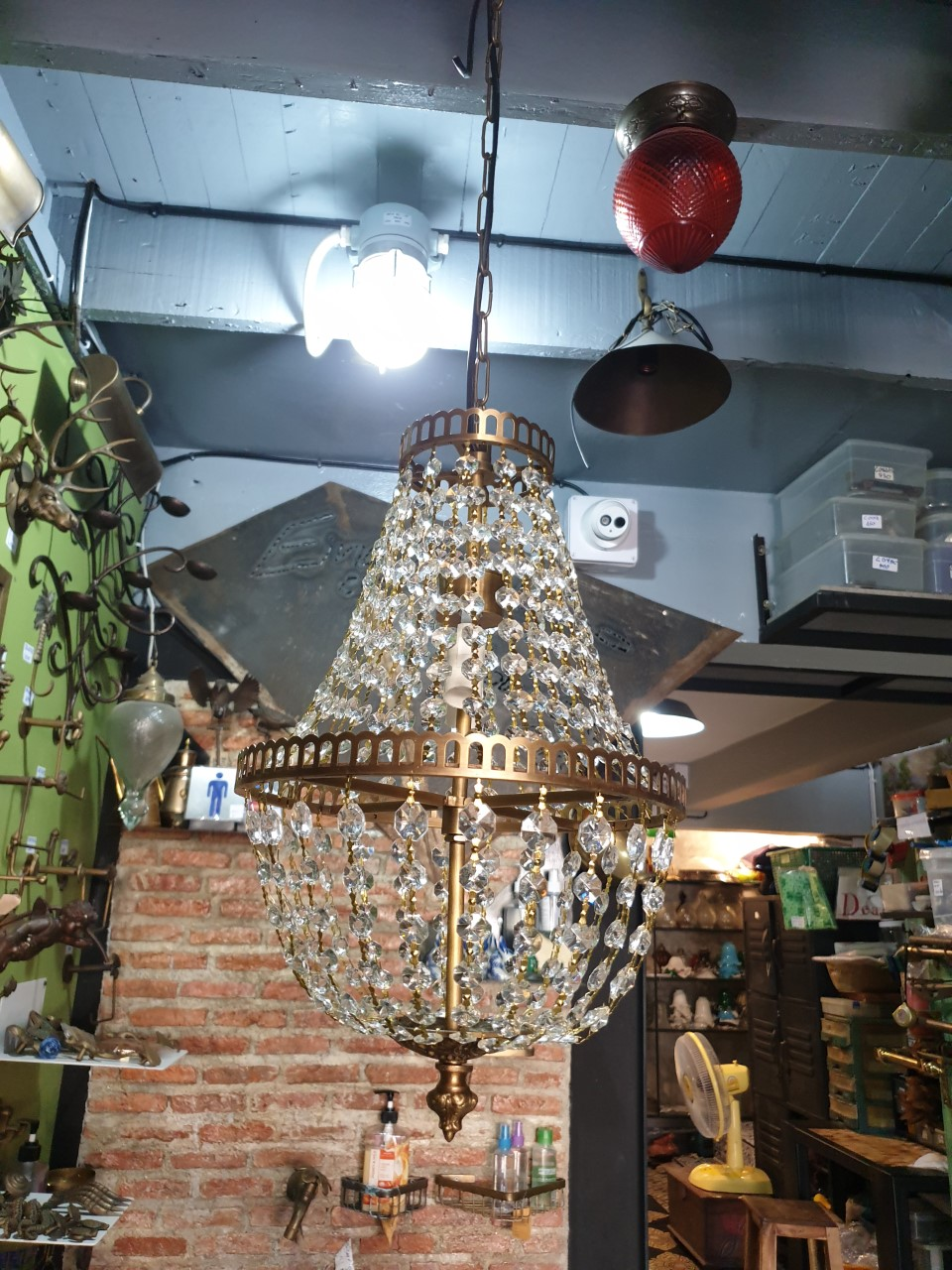 Chandelier Crystal lamp brass with crystal Code CDL06UW size wide 260 mm.long 420 mm.L include 1000